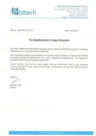 Recommendation Letter Baltech