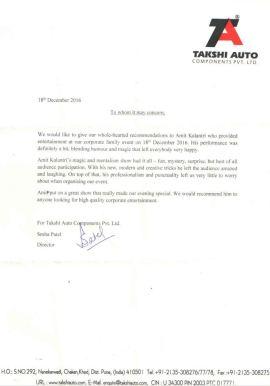 Recommendation Letter Takshi Auto